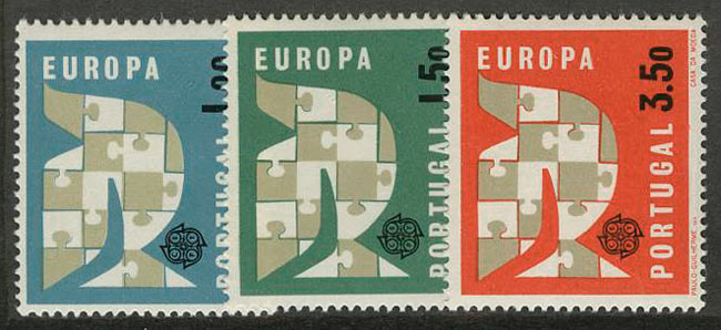 """1963. Португалия. Серия """"EUROPA Stamps"""", 3/3, ** [916-918] 1"""