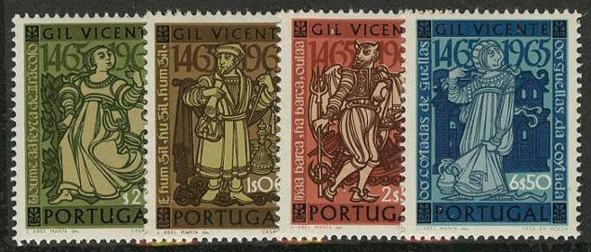 "1965. Португалия. Серия ""The 500th Anniversary of Gil Vicente"", 4/4, ** [964-967] 1"