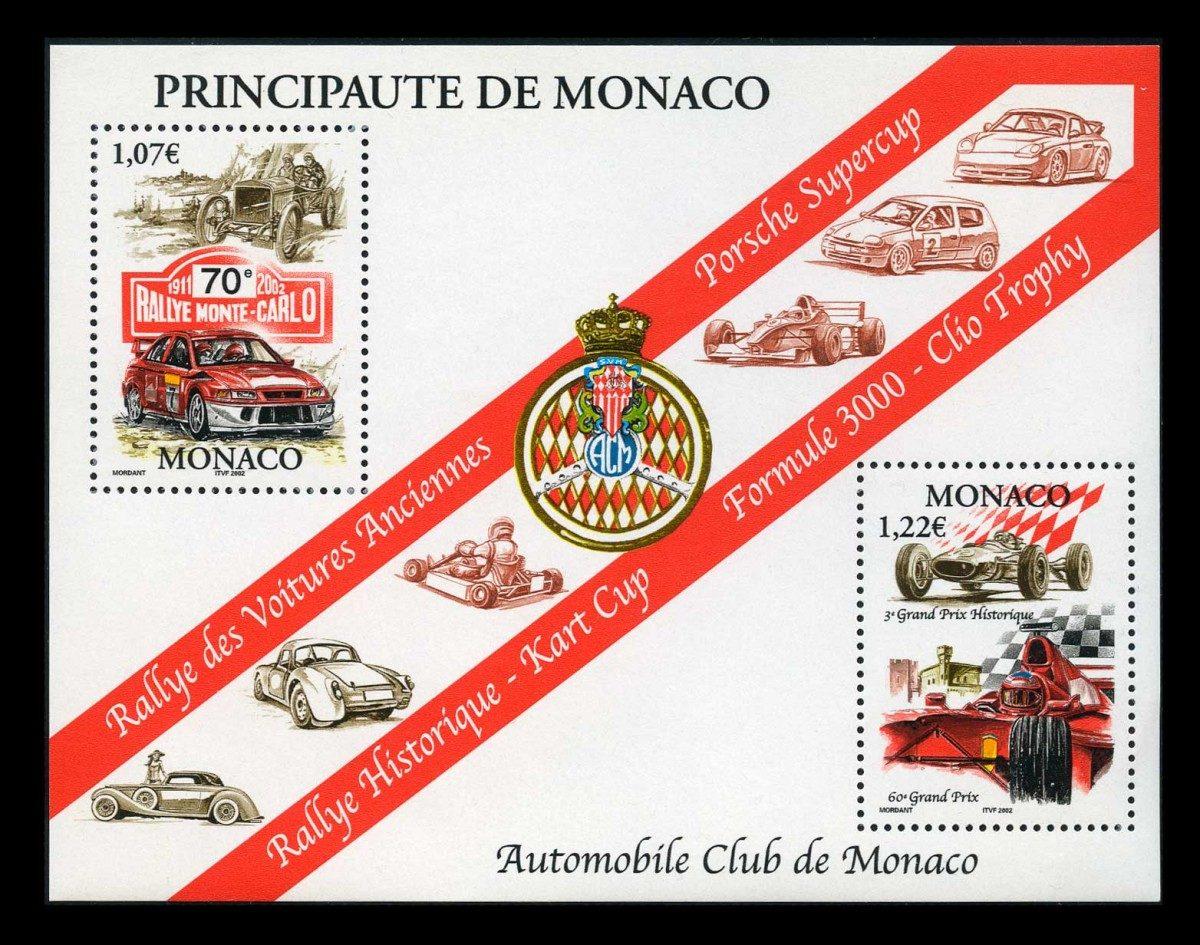 """Car Races in Monaco. 2002. Монако. Минилист марок """"Монако: Автомобильные гонки"""", 123 x 94 mm, **"""