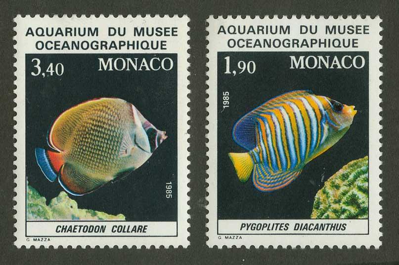 """1986. Монако. Серия марок """"Рыбы в Океанографическом музее"""""""
