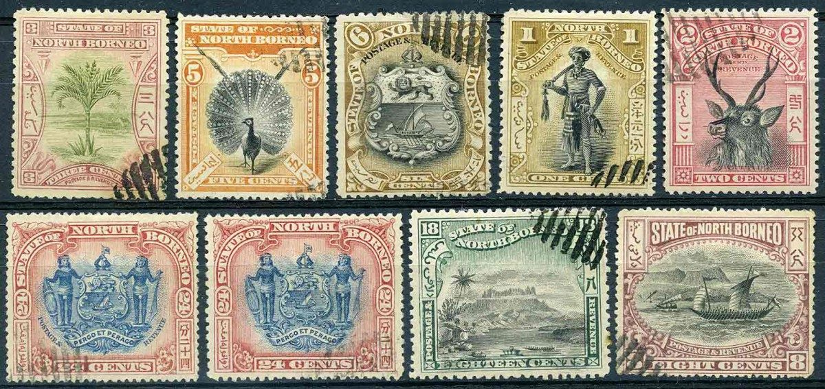 1897. Северное Борнео / North Borneo. 9 шт. [imp-11464] 1