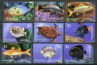 """2000. Гренада / Grenada. Набор """"Рыбы, пресмыкающиеся"""". 9 шт. * [imp-11617] 2"""