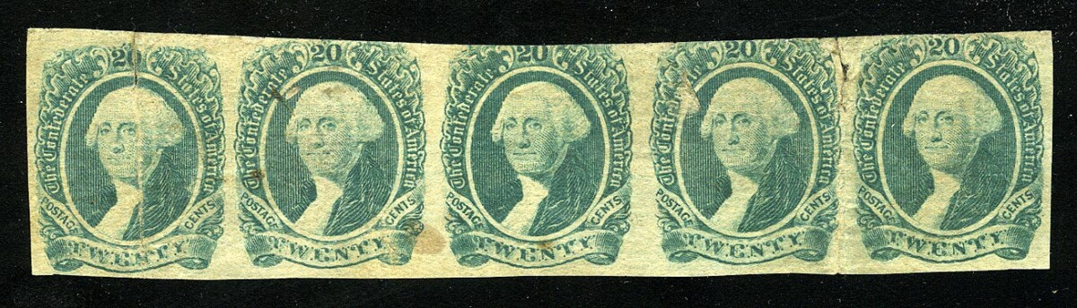 """1863. Конфедеративные штаты Америки. """"Президент Джордж Вашингтон"""", 5 шт. *II [imp-11769] 1"""