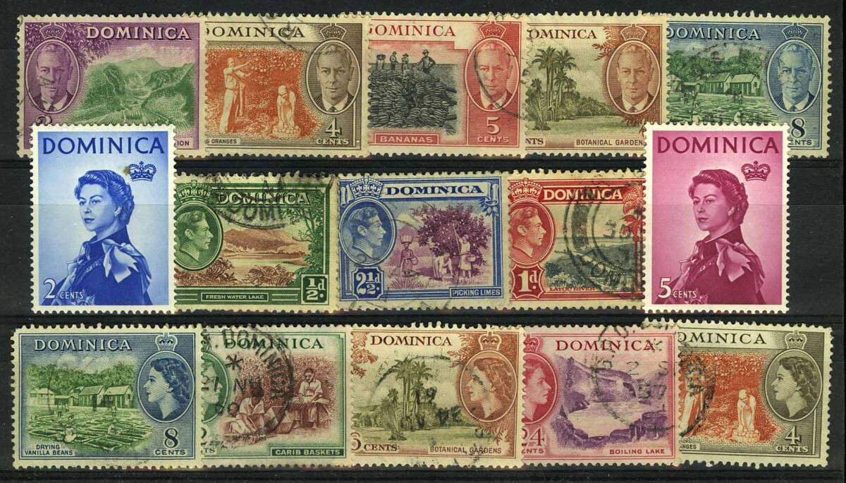 "1950-е. Доминика. Набор ""King George VI and Local Motives • King George VI in Medallion • Queen Elizabeth II"", 15 шт., */(•) [imp-11836] 1"