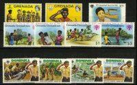 """Доминика, Гренада. Набор """"Дети, скауты"""", 9 шт., **/* [imp-11838] 10"""