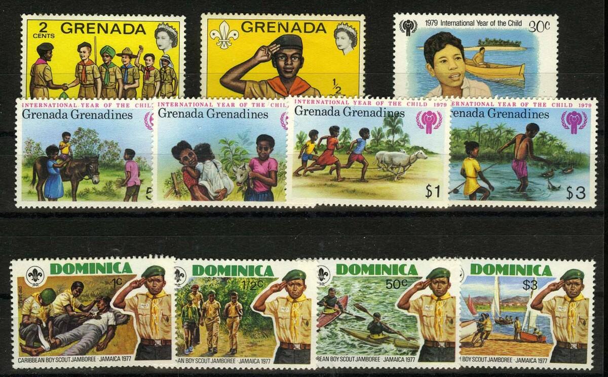 """Доминика, Гренада. Набор """"Дети, скауты"""", 9 шт., **/* [imp-11838] 1"""