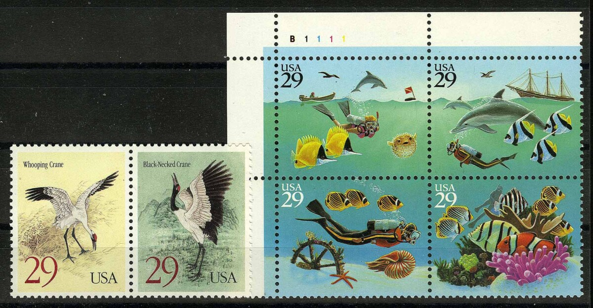 "1995. США / USA. Наборы ""Marine Life - Wonders of the Sea"", ""Birds - Black-necked Crane and Whooping Crane"", сцепка, ** [imp-11843] 1"