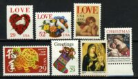 """США / USA. Набор """"Love Stamps • Chinese New Year - Year of the Dog • Christmas stamps"""", 7 шт., ** [imp-11848] 16"""