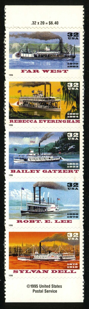 "1995. США / USA. Набор ""Riverboats"", сцепка, ** [imp-11889] 1"