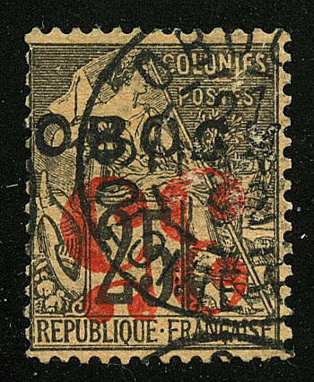 """1892. Обок / Obock. """"French Colonies - General Issues Handstamped """"OBOCK"""" - Horizontal"""", * [imp-11894_gt] 1"""