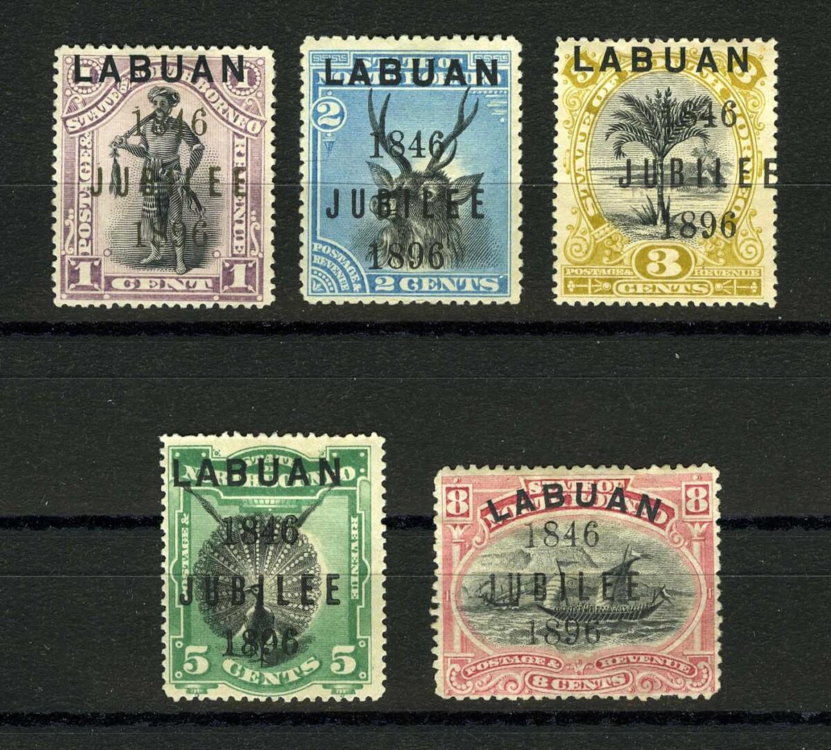 "1896. Лабуан. ""North Borneo Stamps Overprinted ""LABUAN"" - Overprinted ""1846 JUBILEE 1896"", 5/6. *II [imp-11919_gt] 1"