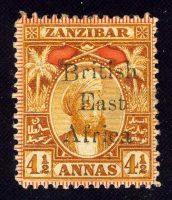 """1897. Британская Восточная Африка. """"Zanzibar Postage Stamps Overprinted"""", *II [imp-11981] 27"""