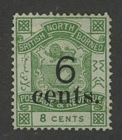 "1891. Северное Борнео. ""BRITISH NORTH BORNEO"" & ""POSTAGE & REVENUE"", надпечатка, *I [imp-13013_gt] 7"