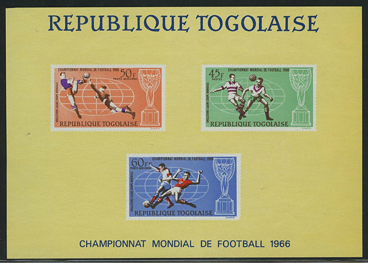 "1966. Того, ""Airmail - Winning Trophy of the Football World Cup in London"", ** [imp-13050] 1"