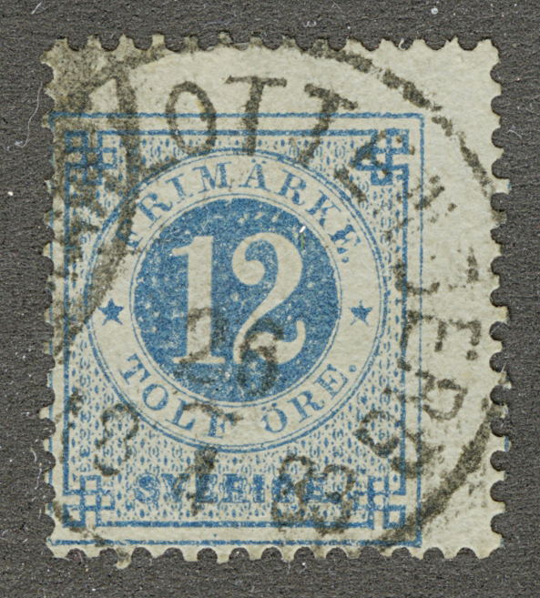 "1877. Швеция. ""Numerals in Circle"", (•) [imp-13058] 1"