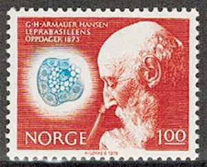 """1973. Норвегия. """"The 100th anniversary of G.H.Armauer Hansen's discovery of the Lepra bacterium"""", 1/2, ** [imp-3895] 1"""