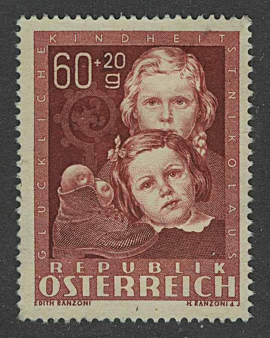 "1949. Австрия / Österreich. Серия ""Happy Childhood - Easter Bunny"", 1/4, *II [imp-13120] 1"