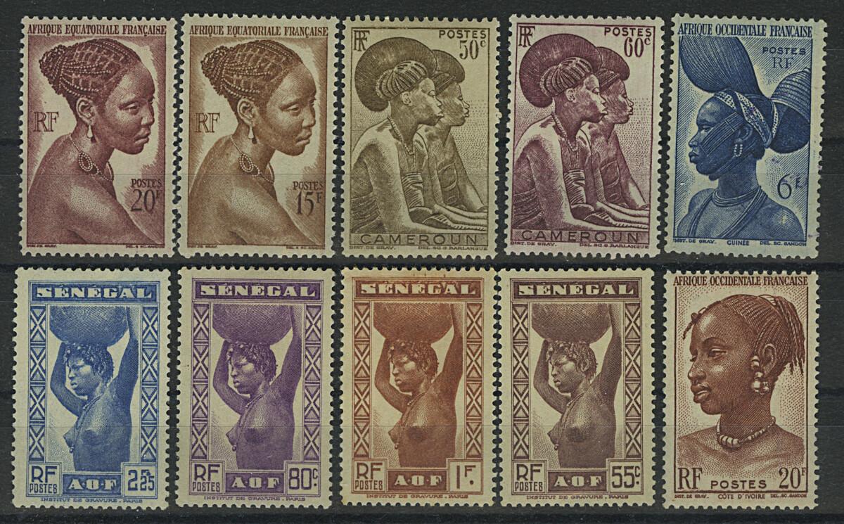 Камерун, Сенегал. Французские колонии. 10 м., *I, *II [imp-13125] 1