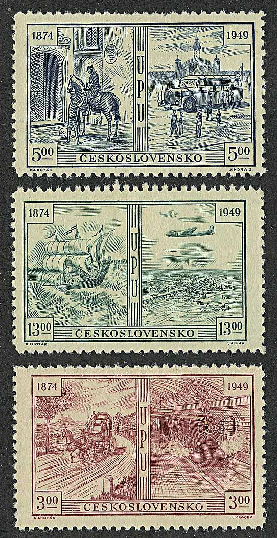 "1949. Чехословакия.  Серия ""The 75th Anniversary of the Universal Postal Union(UPU)"". *I [imp-13130] 1"