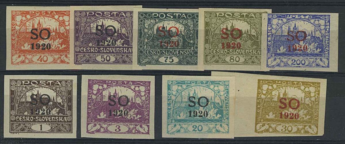 "1920. Верхняя Силезия. Набор ""Czeshoslovakian Postage Stamps Overprinted ""SO 1920"", *I [imp-13144] 1"