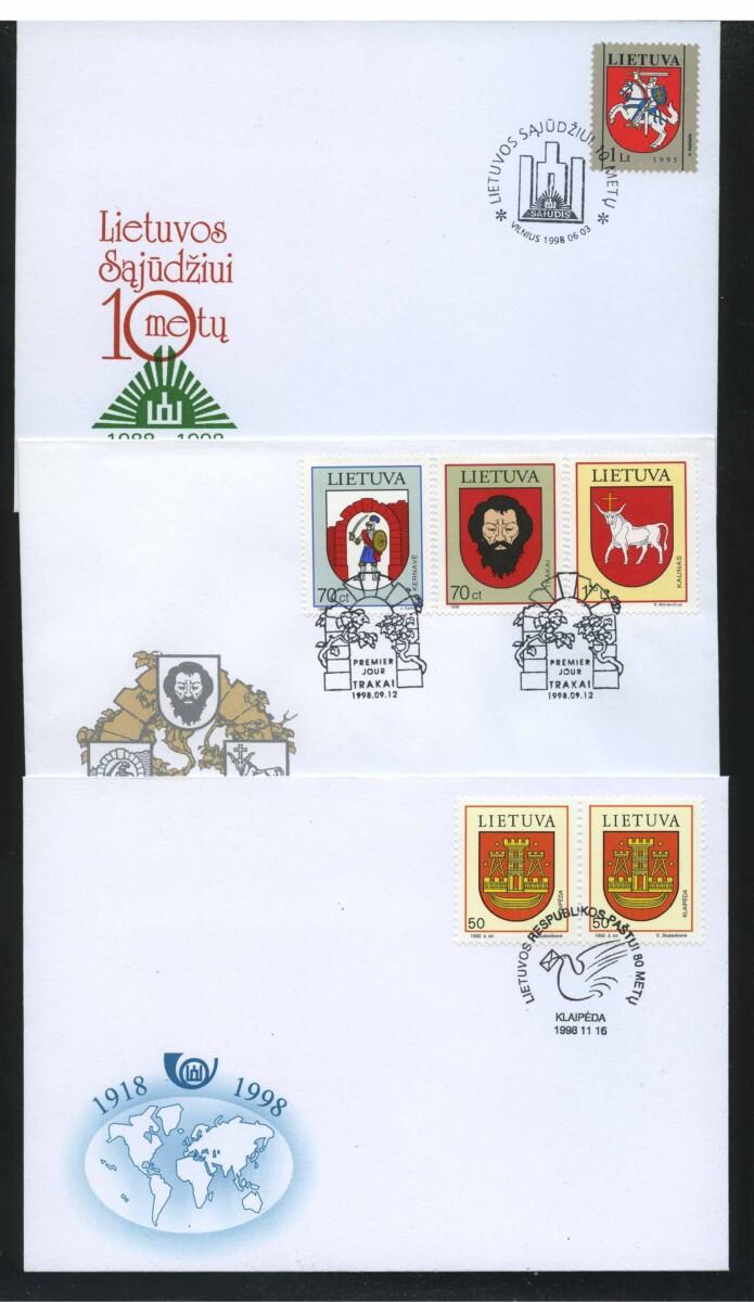 """1998. Литва. Набор """"Town Arms"""", КПД, 3 шт. (//) [imp-13314] 1"""