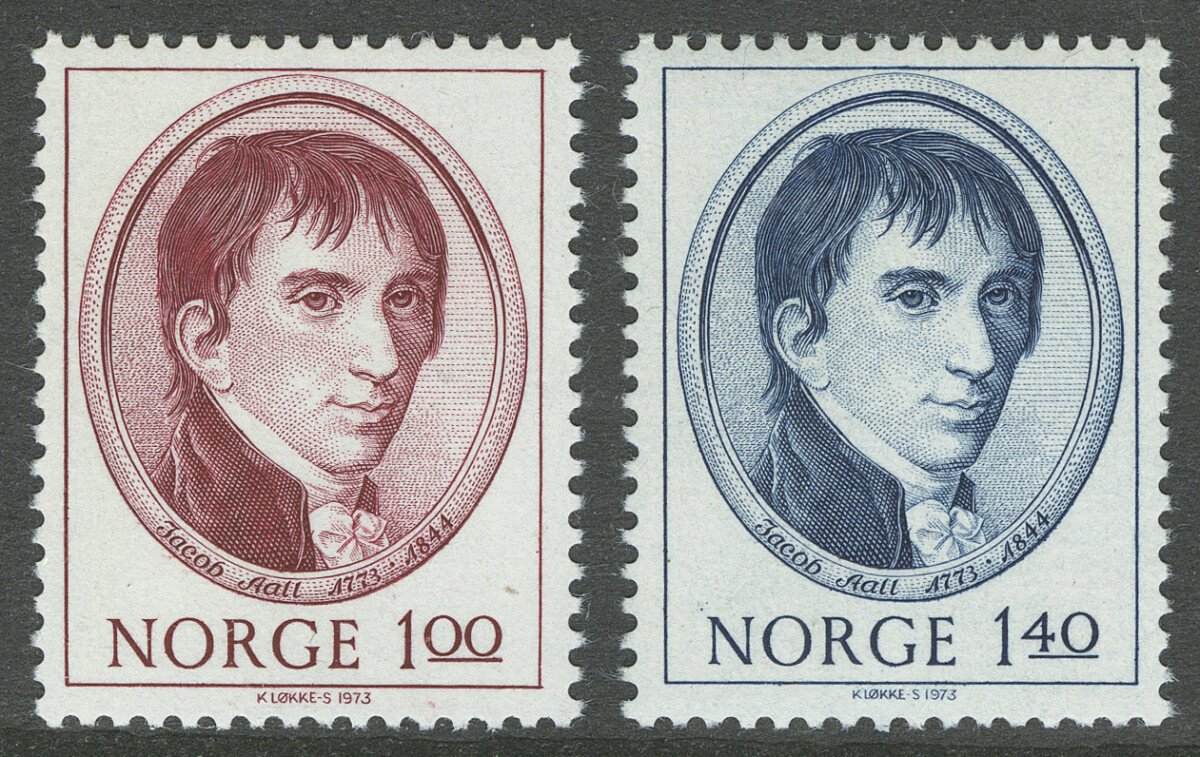 1973. Норвегия. The 200th anniversary of the birth of Jacob All, ** [imp-621-622] 1