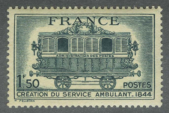 1944. Франция. The 100th Anniversary of the Railway-Post, ** [imp-472] 1