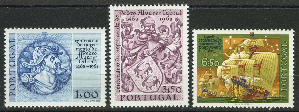 """1969. Португалия. Серия: """"The 500th Anniversary of the Birth of Cabral"""", 3/3, ** [1035-1037] 1"""
