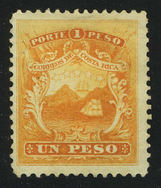 1863. Коста-Рика. Герб, Un Peso, * [imp-13263] 1
