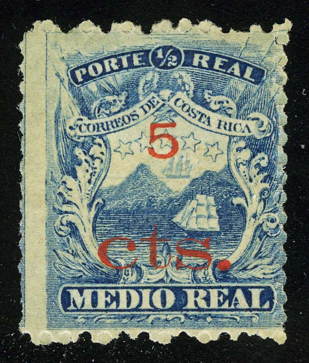 1881. Коста-Рика. Герб, No. 5 Surcharged in Red, * [imp-13272] 1