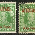 1903. Аитутаки. Марки Новой Зеландии с красными или синими надпечатками, первые марки страны, * [imp-13301] 2