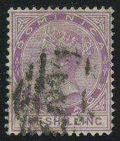 """1888. Доминика. """"Королева Виктория"""", 1Sh, перф. 14, (•) [imp-13316] 11"""