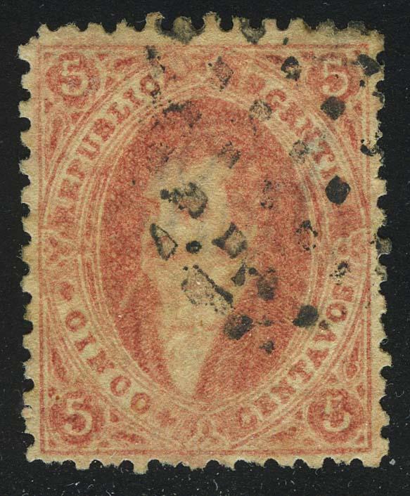 1864. Аргентина. Бернардино Ривадавия. 5С, (•), wmk [imp-13358] 1