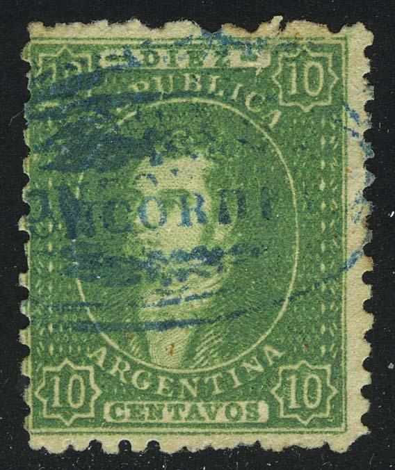 1864. Аргентина. Бернардино Ривадавия. 10С, (•), wmk [imp-13359] 1