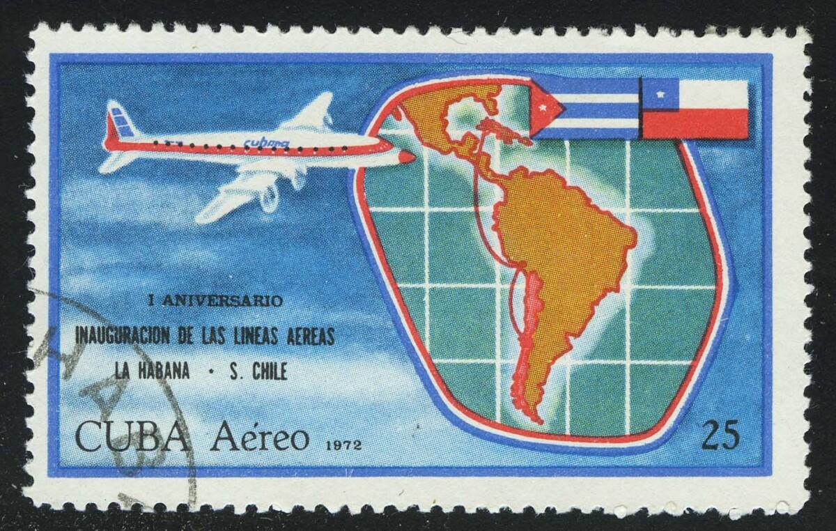 """1972. Куба. """"Авиапочта - 1-я годовщина авиасообщения Гавана-Сантьяго-де-Чили"""", (•) [13365] 1"""