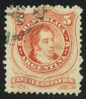 1867. Аргентина. Ривадавия. 5С, (•) [imp-13371] 10