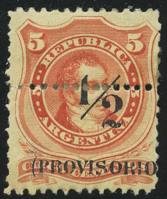 1882. Аргентина. Карлос Мария де Альвеар. Анулят, доплатная, надпечатка, 5С * [imp-13387] 1