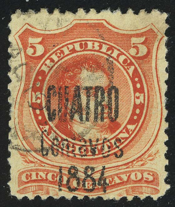 1884. Аргентина. Ривадавия. надпечатка 4/5C, (•) [imp-13393] 1