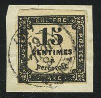 1863. Франция. Почтовая марка / ChiffreTaxe (налоговая, доплатная). типо, без перф., вырезка, 15 С, (•)  [imp-13421] 11