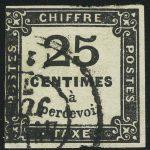 1871. Франция. Почтовая марка / ChiffreTaxe (налоговая, доплатная). типо, без перф., 25 С, (•)  [imp-13422] 4