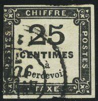 1871. Франция. Почтовая марка / ChiffreTaxe (налоговая, доплатная). типо, без перф., 25 С, (•)  [imp-13423] 9