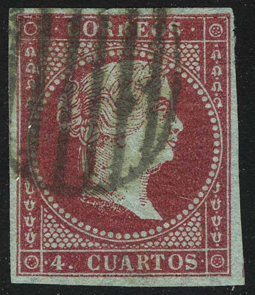 1855. Испания. Королева Изабелла II, без перф., (•)