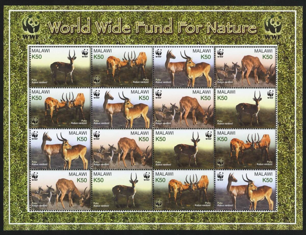 """2003. Малави. Лист """"Вымирающие виды - Пуку, WWF"""""""