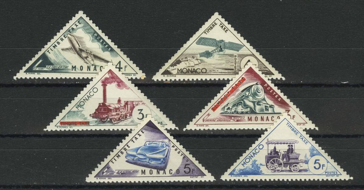 """1956. Монако. Из серии """"Транспорт - оплаченные почтовые марки 1953-1954 годов с аннулированием """"TIMBRE TAXE"""", 9/21 * [13580]"""