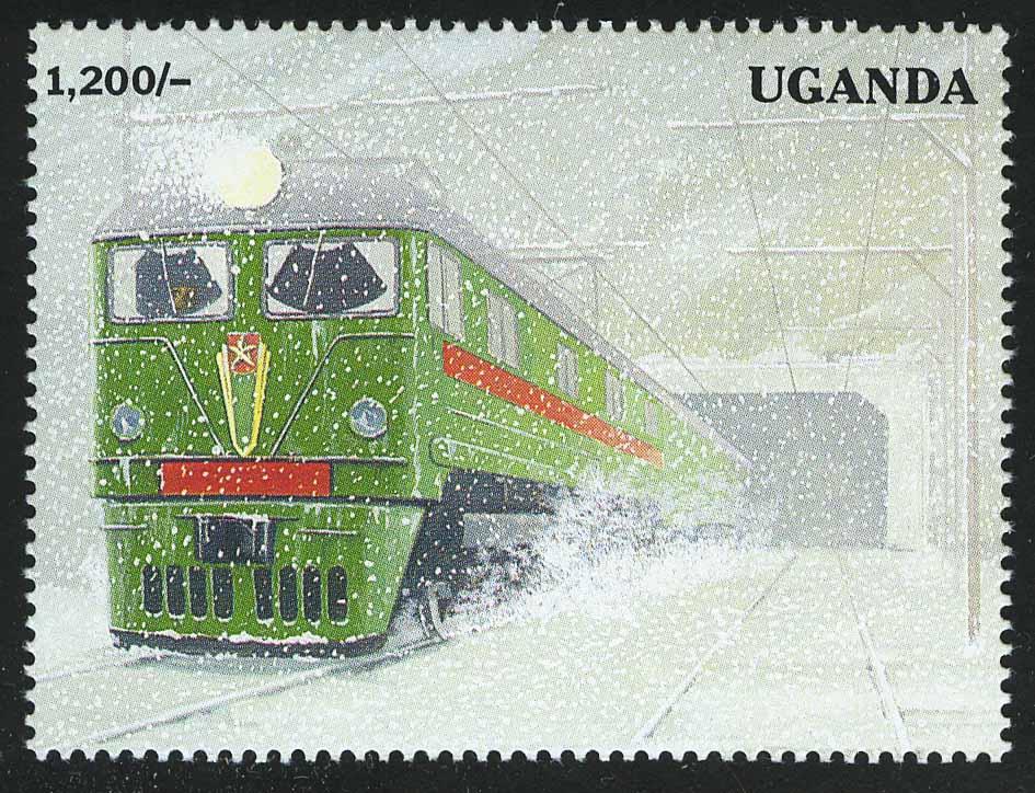 """1992. Уганда. Блок """"100 лет Транссибирской магистрали"""", 114 x 85 мм, *"""