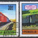 "1971. Монголия. Серия ""Транспорт: ""Old Steam Locomotive"", ""Diesel Locomotive T32-498"""
