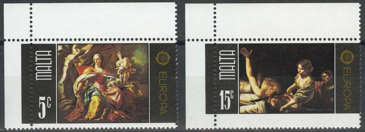 """1975. Мальта. Серия """"Марки ЕВРОПА - Картины. Allegory of Malta, Judith and Holofernes"""", 2/2, ** [imp-13684]"""