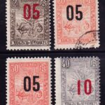 1912 Мадагаскар. Дерево путешественника, зебу и лемур  с доплатой. [imp-14238_gt] 2