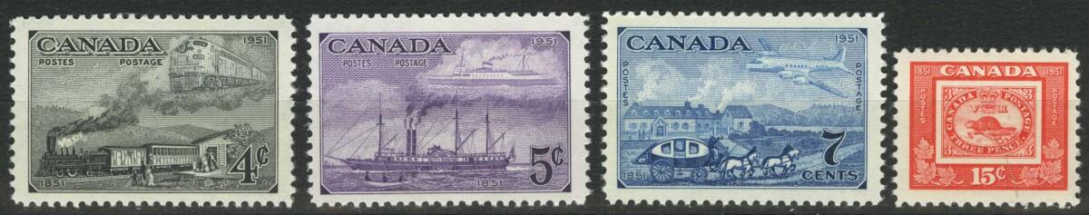 """1951. Канада. Серия """"100-летие канадских марок"""", 4/4, ** [imp-13834]"""