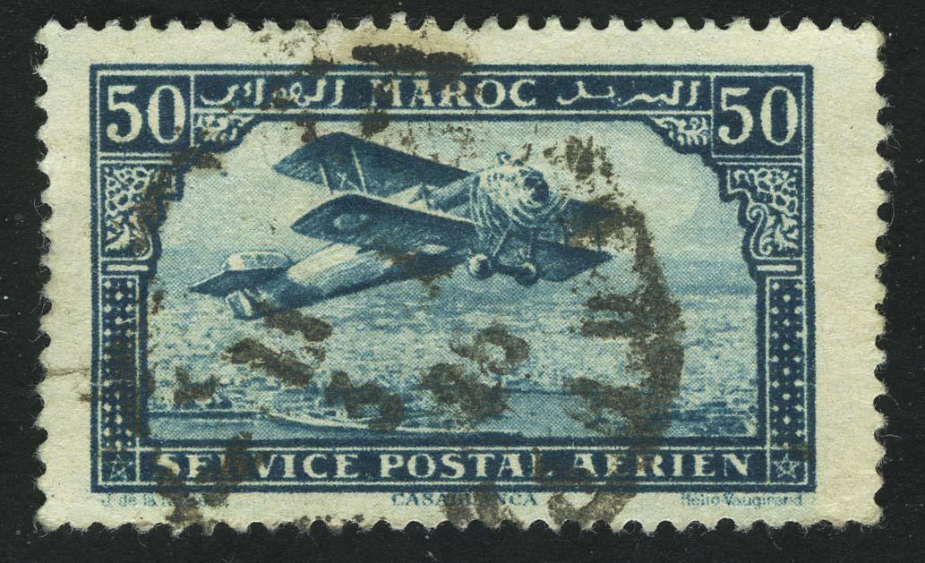 1922 Airmail - Plane over Casablanca - Inscribed MAROC above, POSTAL SERVICE AERIEN below
